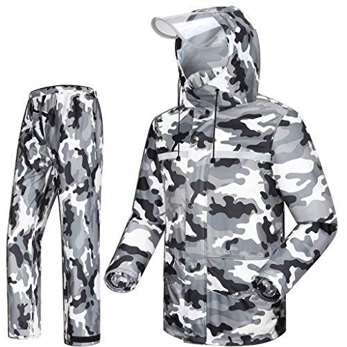 YDS Shop outdoor mannelijk waterdicht pak (regenjas + regenbroek), camouflage hoodie/skijas/winddicht, geschikt voor motorfiets, golven, vissen, wandelen Large grijs