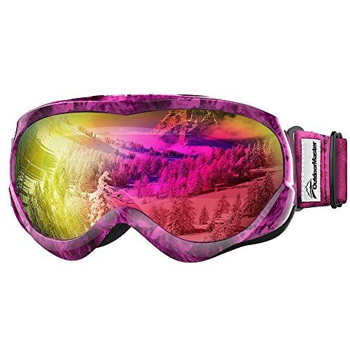 OutdoorMaster Kids Ski Goggles - Helmet Compatible Snow Goggles for Boys & Girls with 100% UV Protection (Purple Pattern Frame + VLT 45% Violet Lens)