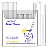 """HeykirHome 12-Pack Reusable Glass Straws ,6 Pack 8''x10 MM+ 6 Pack 5""""x10 MM with 2 Cleaning Brush- Perfect For Smoothies, Tea, Juice"""