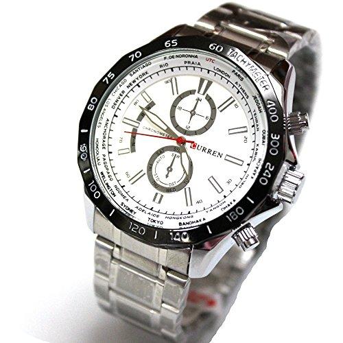 SPORTWATCHES Schöne Uhren, Herrenuhr Gefälschte Tri-Eye Quarzuhr Große Zifferblatt Herrenuhr (Color : 1)