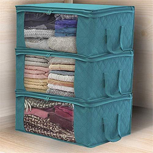 Kleidung Aufbewahrungstasche Non-Woven-Bett Faltbare Mit Großem Fenster Leerer Comforters Decken Bettwäsche Kleidung Stoff Kleiderschrank Staub- 3Er-Pack