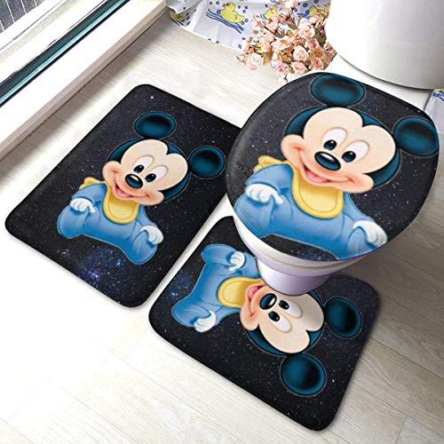 Badematten-Set, 3-teilig, Flanellteppich, rutschfeste Unterseite, Badematten für Badezimmer, Schlafzimmer, Küche, Baby-Micky Maus (80 x 49,5 cm)