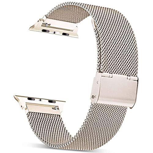 Mugust Metallo Cinturino Compatibile con Apple Watch Cinturino 38mm 40mm 42mm 44mm , Magnetico Cinturini di Ricambio Traspirante in Acciaio Inossidabile per iWatch Series 6 5 4 3 2 1