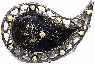 artigianale Hebilla para cinturón de 4 cm, esmalte negro de 12 cm, color bronce, hebillas de metal o piedras o brillantes o esmaltes o cristales muranos y 1 llavero BSS cc2