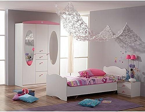 Kinderzimmer 3-teilig Weiß  Rosa Jugendzimmer Kleiderschrank Bett Nachtkommode mädchen