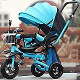 SOORCKBAKT Triciclo Evolutivo Triciclo de niños De 1 a 3 años Ligero Plegable Sillón reclinable Bebé Bicicleta Bebé Coche Infantil con sombrillas Triciclos Bebes (Color : B)