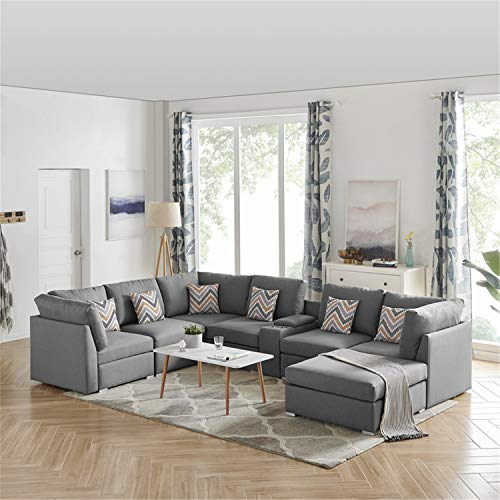 Lilola Home Amira Gray Fabric Reversible Modular Sectional Sofa with USB Console and Ottoman