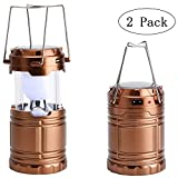 2 Pack Portable 6 LED Camping Lantern Collapsible Outdoor Solar Flood Lights, Battery Powered Rechargeable Patio Garden Lighting, Super Bright Energy-Saving Emergency Tent Light