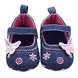 Zapatos de bebé, Bluestercool Primeros Pasos para niña Mariposa Suave Sola niña Zapatos de Paño Zapatillas Antideslizante Suave niño único para 0-18 Meses (6~12 Mes, Azul)