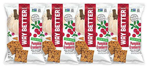 Way Better Snacks Limited Edition Gluten Free Whole Grain Corn Tortilla Chips, Pumpkin Cranberry, 4 Count