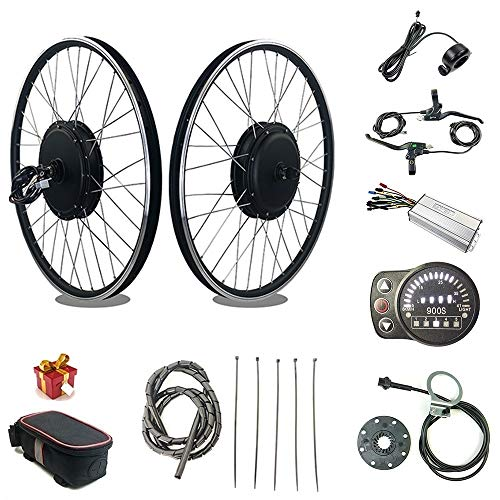 RICETOO 48V 1000W 20'/24'/26'/27.5'/28'/700C Front Wheel Electric Bicycle Conversion Motor Kit with Brushless Gear Hub Motor with KT-LED900S Display. (48V 24 inch)