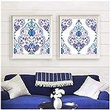 Aquarell Paisley kalte Farben Poster und Print indischen Wandkunst Leinwand Malerei persische oder türkische Kunst Bild Home Art Decor-50x50cm kein Rahmen