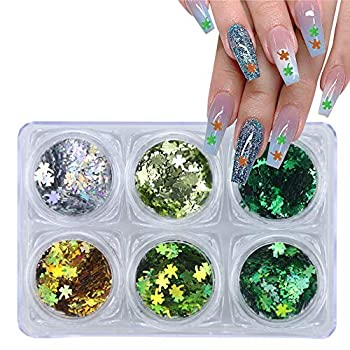3D Shamrock Nail Art Stickers Glitter Decals St.Patrick s Nail Sequins Laser Clover Nail Supplies Sparkle Nail Flakes Green Shiny Design for Acrylic Nail Supplies Charms Nail Decorations Accessories