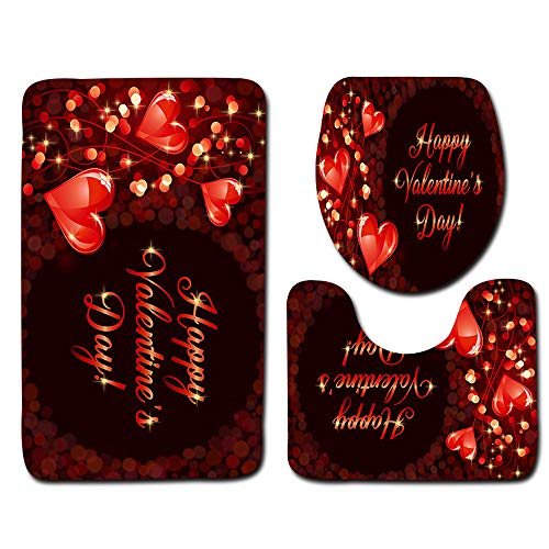 Armfer-household supply Valentines Day Decorations for The Home Bath Room Rugs Set Rose Red Love Heart Pattern Non Slip Bath Mat Contour Mats Toilet Cover Wedding Anniversary Decor