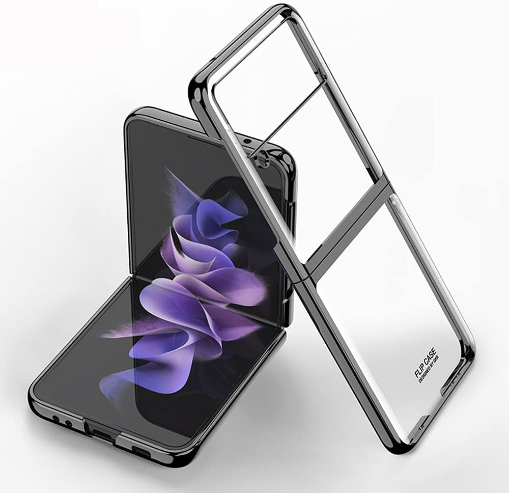 DOOTOO for Samsung Galaxy Z Flip 3 Case Luxury Transparent Plating PC Crystal Cover Finish Anti-Scratch Shookproof Protection Case for Samsung Galaxy Z Flip 3 5G (Clear-Black)