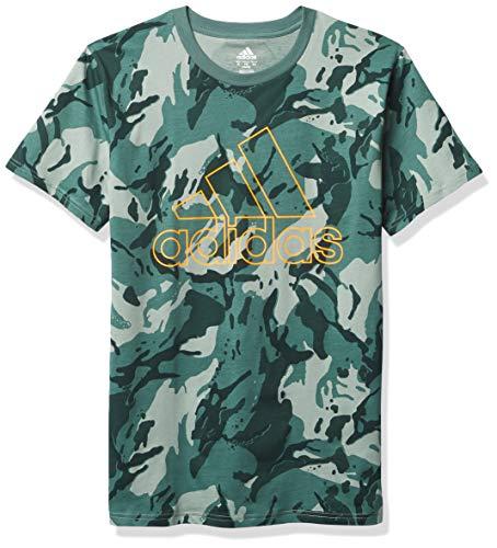 adidas Boys' Short Sleeve Cotton Jersey Logo T-Shirt, Camo Tech Emerald, X-Large