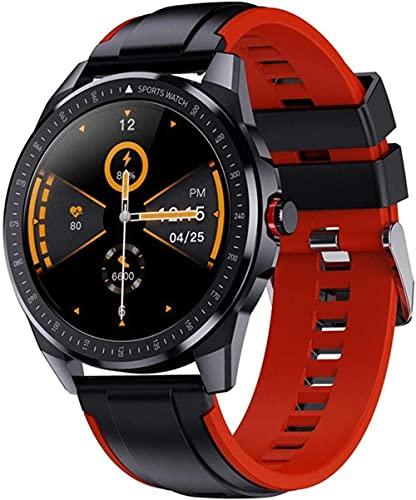 Reloj inteligente para hombre de 1 28 pulgadas IP68 impermeable con monitor de ritmo cardíaco rastreador de fitness para Android IOS gris/rojo