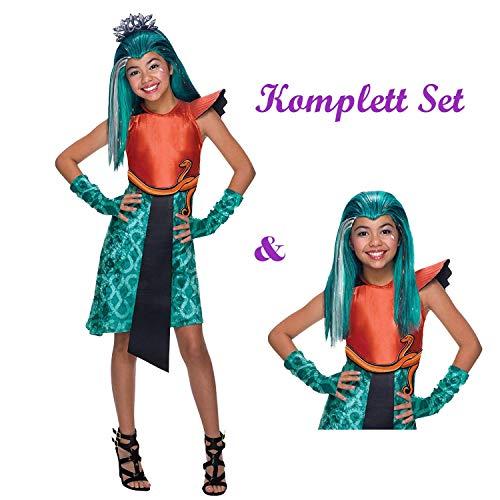 Savahe Monster High Nefera De Nile Kostüm & Perücke Komplett Set / Karneval Fasching Mädchen Cleopatra Party (140/146)