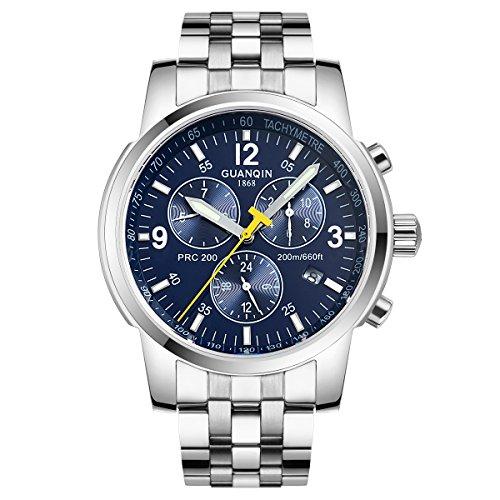 GUANQIN hombres analógica deporte popular marca automático Self-winding mecánico negocio de acero inoxidable reloj de pulsera FECHA impermeable luminoso Plata Azul