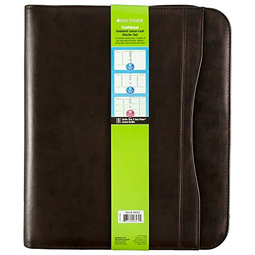 Day-Timer Sienna Simulated Leather Starter Set, Undated, 7 Ring, Folio Size, Sienna Brown (48432)
