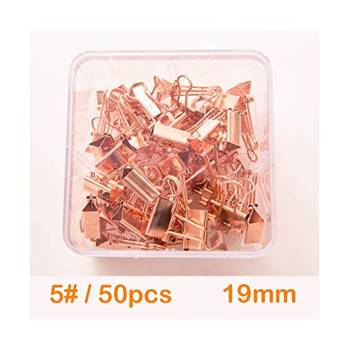 Rose Gold Binder Clips Paper Clamps Assorted 4 Sizes Set,Metal Fold Back Clips with Box for Office, School and Home Supplies (Color : C)