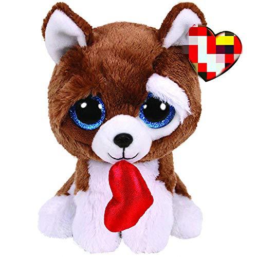 dingtian Juguete de Peluche 6 cm Smootches El Perro De San Valentín con Corazón Peluche De Peluche De Colección Muñeca De Juguete
