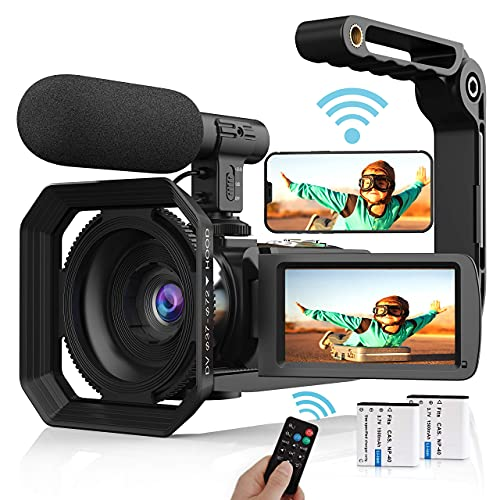 Video Camera Camcorder, 4K Vlogging Camera UHD 48MP WiFi YouTube Camera Recorder with Microphone, Remote, Stabilizer, Lens Hood