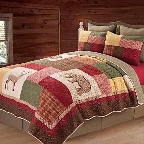 Great Deal! 1 Piece Red Cabin Lodge King Bedding Sets, Attractive Rustic Style Patchwork Quilt Beautiful Color Blocking Complimentary Borders Reversible to Coordinating Mini Green Check Pattern Unique Bed Decor