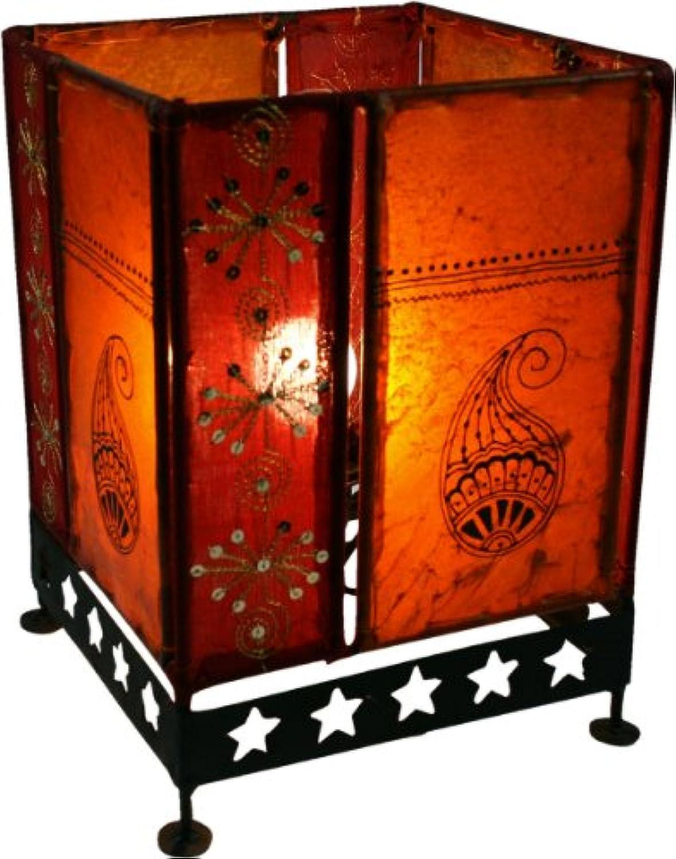 Guru-Shop Lederleuchte - Saree Tischlampe   Tischleuchte Chennai, Orange, 30x20x20 cm, Orientalisches Kunsthandwerk