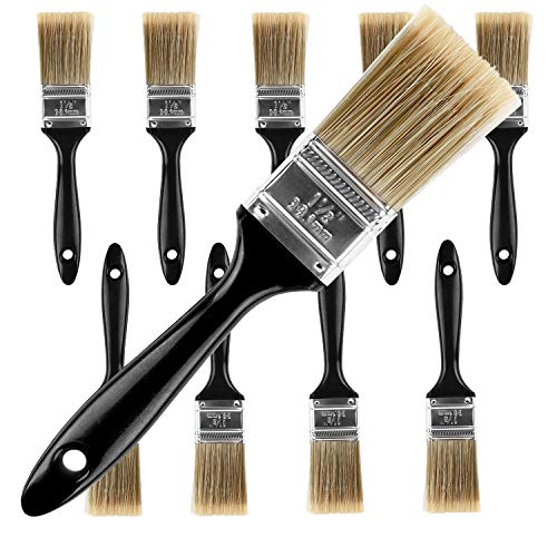 KINJOEK 10 Packs 1.5 Inch Paint Brush, Home Wall Trim House Chip Paintbrush Set, Professional Multi-Purpose Home Repair Tools for DIY Paint Stains Varnishes Glues Acrylics Cabinet Deck Fence Edge Door