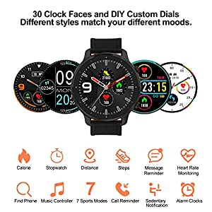 Smart Watch Fitness Tracker 2020 IP68 Waterproof, Heart Rate/ Sleep Monitor Sport Digital Watch, Smartwatch for Android Phones and iOS Phones, Alarm Setting for Men Women (Black)