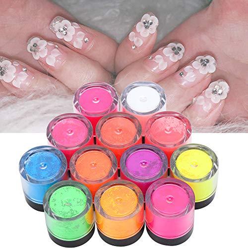 Gleichmäßig verteilter Umweltschutz und ungiftig Leicht zu lagerndes Phosphorpulver, Nail Art Pulver, Salon Shop for Home(12 colors)
