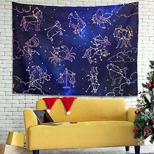 OwlOwlfan Star Constellation - Tapiz para colgar en la pared, cómodo y personalizado, para dormitorio, sala de estar, dormitorio, color blanco 59 x 59 pulgadas