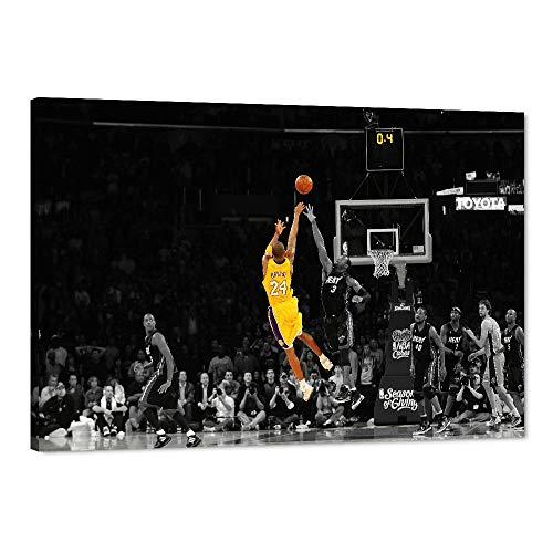 Kobe Bryant Michael Jordan Lebron James, lienzo de la leyenda N-B-A, póster de estrella de baloncesto, Kobe Jordan Lebron con marco para decoración de pared para el hogar o dormitorio