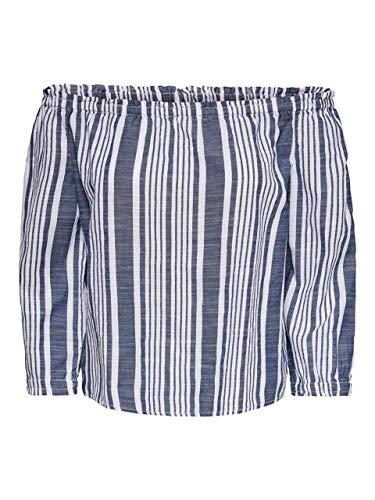 ONLY Damen ONLLAVANA 3/4 Off Should DNM Top, Weiß (Cloud Dancer Stripes: Dark Blue), Medium (Herstellergröße: 38)