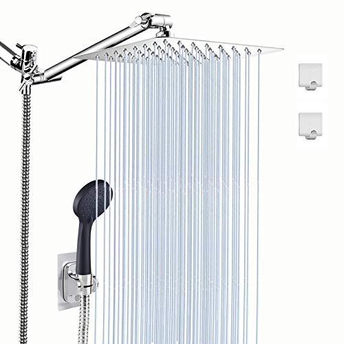 LOHNER シャワーヘッド コンボ 8インチ 高圧シャワーヘッド ブラックハンドヘルドシャワーヘッド 5セッティング 70インチ シャワーホース 11インチ 調節可能なシャワーアーム レインシャワーヘッド