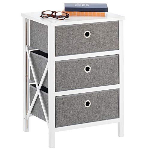 mDesign - Ladekast - opbergsysteem voor huishoudelijke artikelen of kleding - voor babykamer, hal, woonkamer of slaapkamer - met 3 lades/inklapbaar/hout en stof/compact - wit/grijs