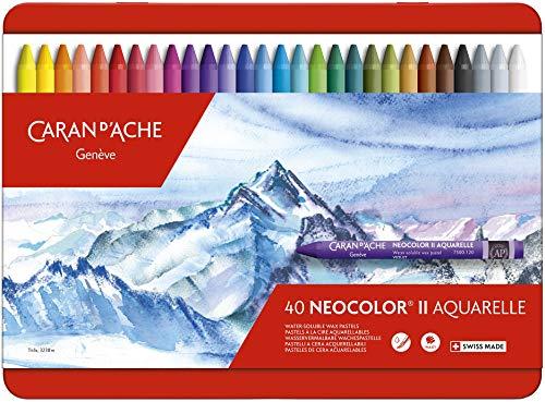 Caran d'Ache - NEOCOLOR II - Assortimento 40 Pastelli a cera acquerellabili - 750.0340