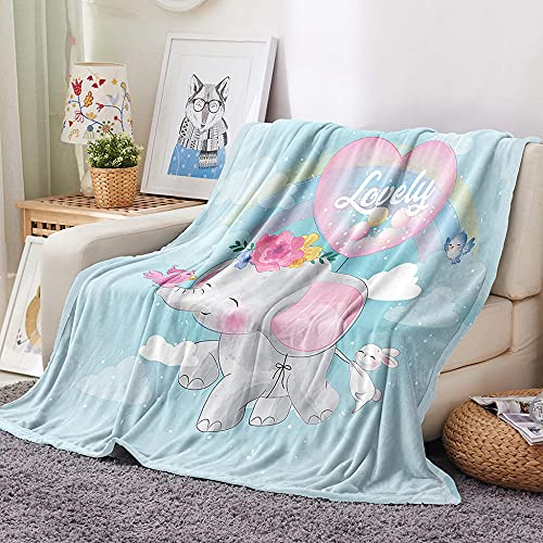 HKDGHTHJ Mantas para Sofa Baratas 130 X 150 cm Lindo Bebé Elefante...