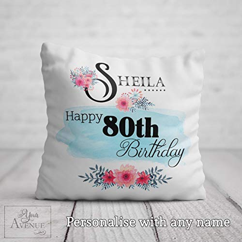 73Elley 80th BIRTHDAY Cushion for Women 80th Birthday Gift for Her Personalised 80 Birthday Pillow Cover Gift Mum Aunt Auntie Nan Nana Gran Friend Present