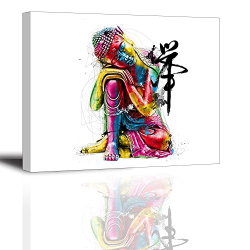 Zen Buddha Statue Wall Art - Ready to Hang Canvas Prints for Bedroom, Waterproof, 12x16 inch
