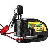 Ertisa Disque de Frein de Verrouillage Moto Lock, étanche 110db Alarme sonore Anti-Theft Verrouillage du Disque Moto avec 7mm pin et 1.2m Rappel câble pour Moto Scooter vélo