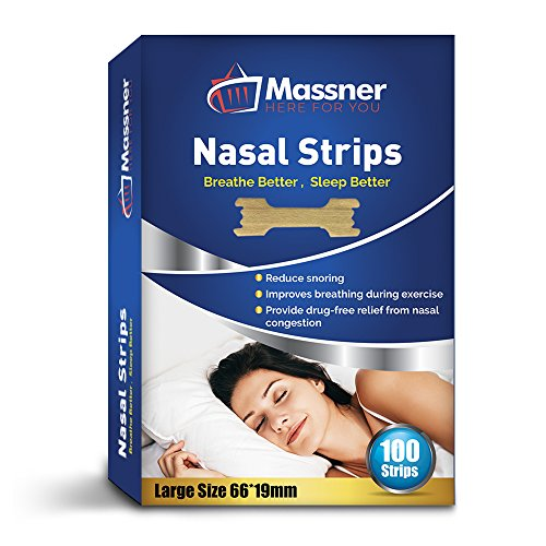 Massner Nasal Strips for Snoring, Large 100 Pack - Extra Strength Anti Snoring Solution for Men, Women - Clears Air Way to Breathe Better - Sleep Right, Snore Less - Stuffy Nose Relief for Congestion