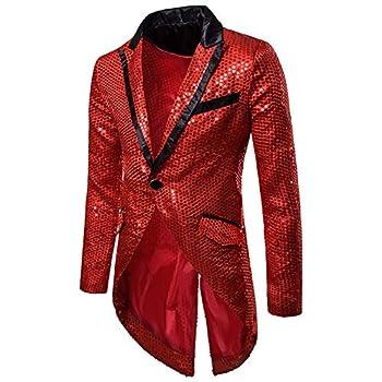 Mens Sequin Tailcoat Swallowtail Suit Jacket Party Show Tux Dress Coat Red X-Large