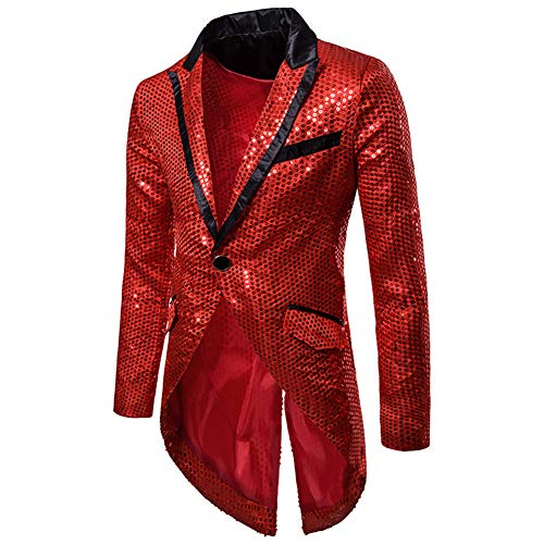 Mens Sequin Tailcoat Swallowtail Suit Jacket Party Show Tux Dress Coat,Red,Small