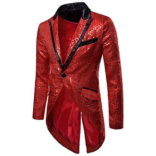 Mens Sequin Tailcoat Swallowtail Suit Jacket Party Show Tux Dress Coat,Red,Large