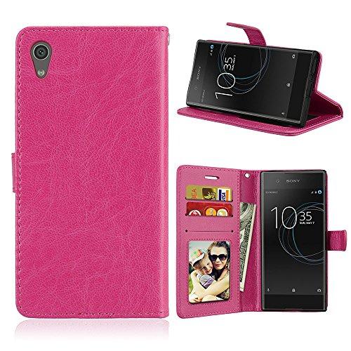 Fatcatparadise Kompatibel mit Sony Xperia Z6 / XA1 Hülle + Bildschirmschutz, Flip Wallet Hülle mit Kartenhalter & Magnetverschluss Halterung PU Leder Hülle handyhülle (Rosenrot)