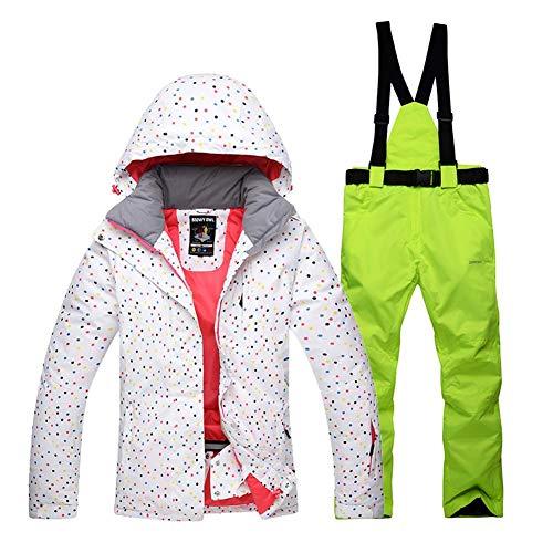 coil.c Damen Skijacke Warm Jacke Gefüttert Winter Jacke Regenjacke, Skijacke Hose Set Für Frauen Im Freien wasserdichte Warme Skianzug, Winddicht,wasserdicht, Atmungsaktiv