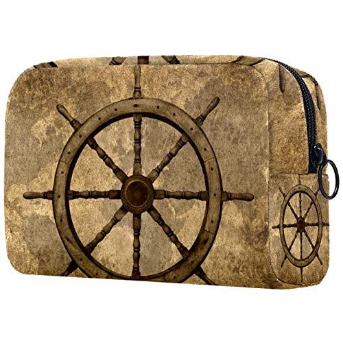 Cosmetic Bag Womens Waterproof Makeup Bag for Travel to Carry Cosmetics Change Keys etc Retro Vintage Steering Wheel