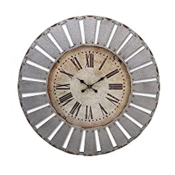 CC Home Furnishings 41 Rustic Sunburst Distressed Gray Cutwork Patterned Round Wall Clock with Antique Style Face